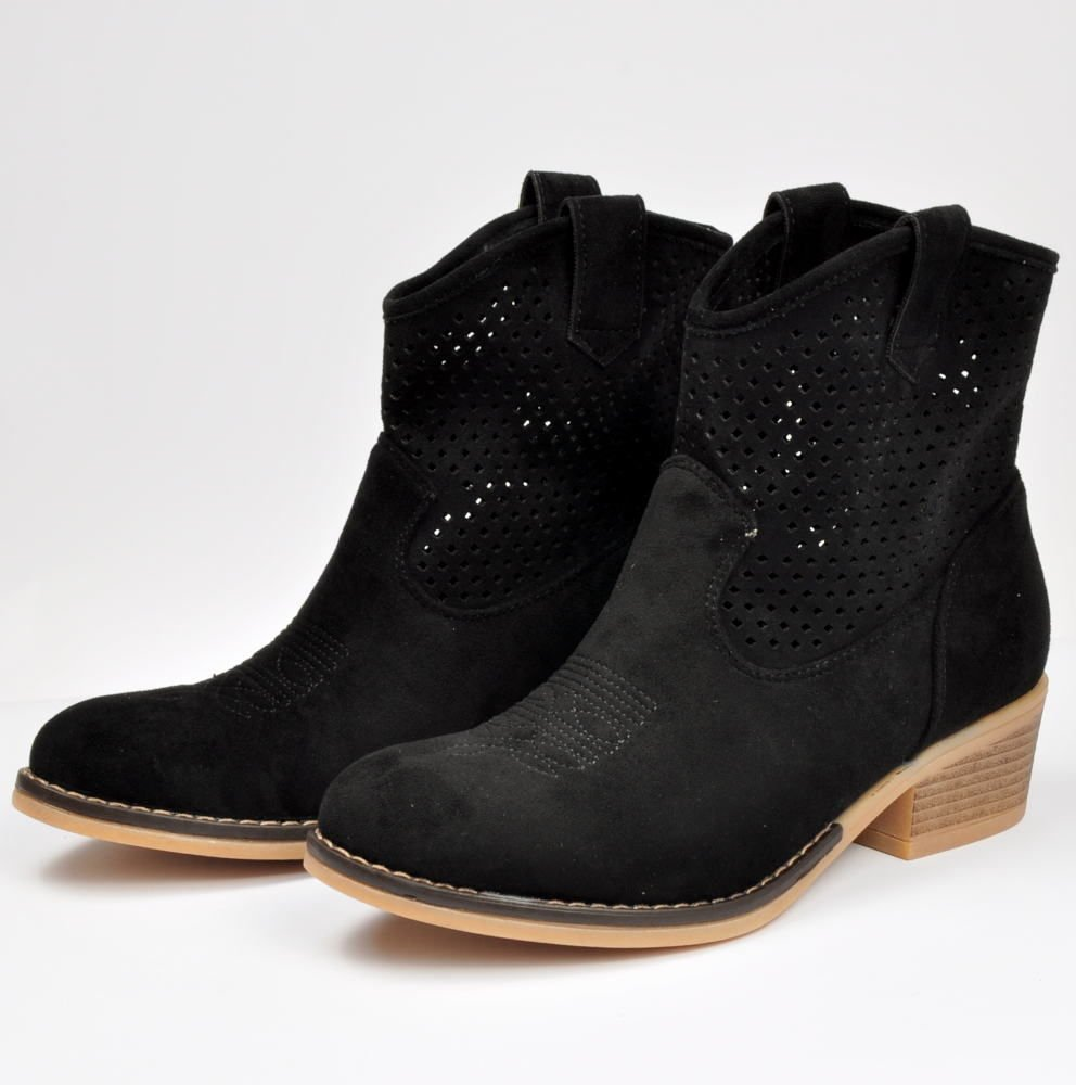 czarne botki damskie na obcasie